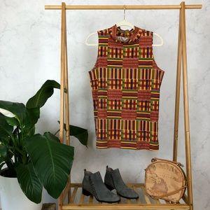Vintage Kente African Print Mock Neck Tank Top